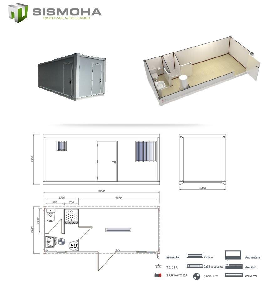 caseta d eobra de 6 metros con baño