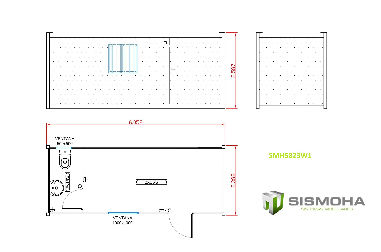 caseta de obra con baño y oficina